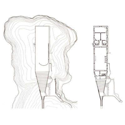 Villa Malaparte a Capri - piante del primo piano e della copertura